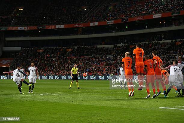 Antoine Griezmann of France celebrates scores the opening goal during the International Friendly match between Netherlands and France at Amsterdam...