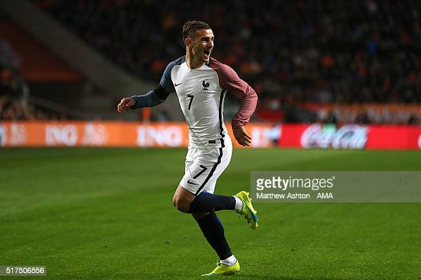 Antoine Griezmann of France celebrates scoring the opening goal during the International Friendly match between Netherlands and France at Amsterdam...