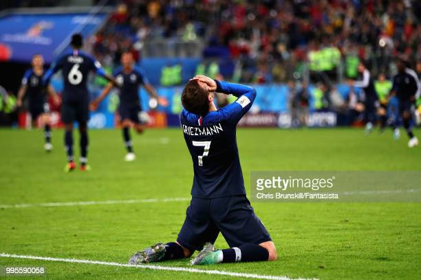 Antoine Griezmann of France celebrates victory during the 2018 FIFA World Cup Russia Semi Final match between Belgium and France at Saint Petersburg...