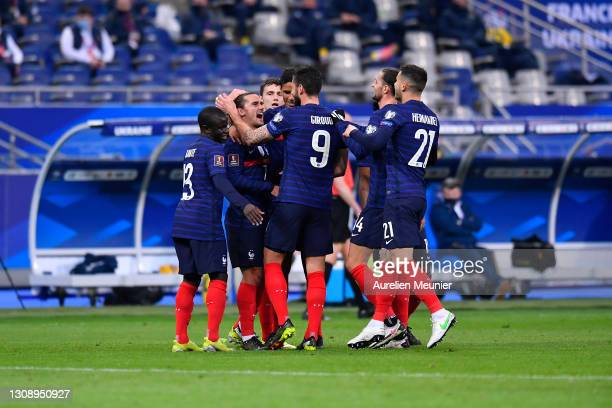 Antoine Griezmann of France celebrates with team mates after scoring their side's first goal during the FIFA World Cup 2022 Qatar qualifying match...