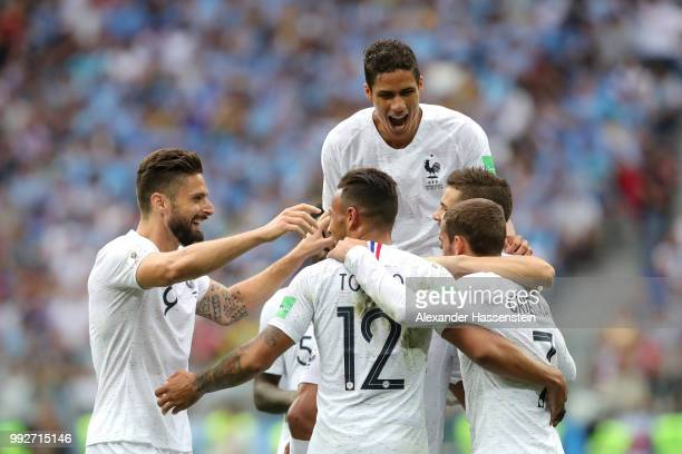 Antoine Griezmann of France celebrates with teammates after scoring his team's second goal during the 2018 FIFA World Cup Russia Quarter Final match...
