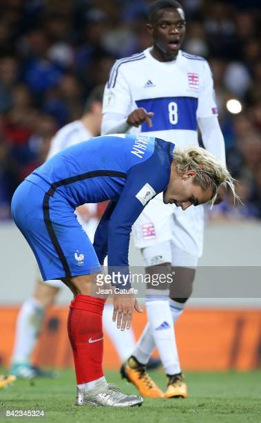Antoine Griezmann of France Christopher Martins Pereira of Luxembourg during the FIFA 2018 World Cup Qualifier between France and Luxembourg at the...