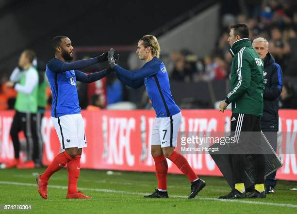 Antoine Griezmann of France comes on for Alexandre Lacazette of France during the international friendly match between Germany and France at...