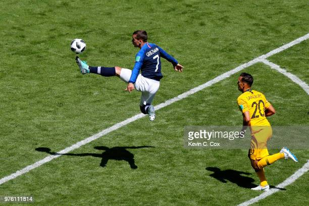 Antoine Griezmann of France controls the ball in the air during the 2018 FIFA World Cup Russia group C match between France and Australia at Kazan...