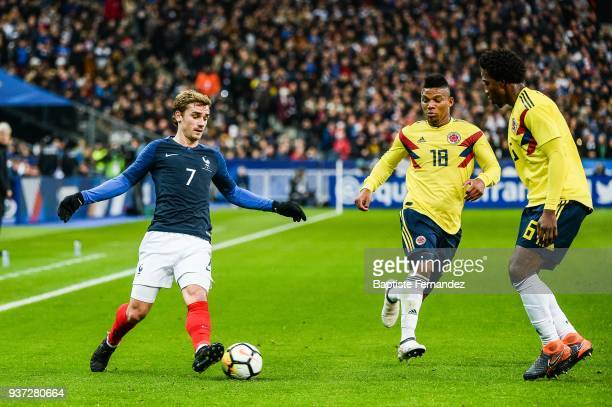 Antoine Griezmann of France Frank Fabra and Carlos Sanchez of Colombia during the International friendly match between France and Colombia on March...