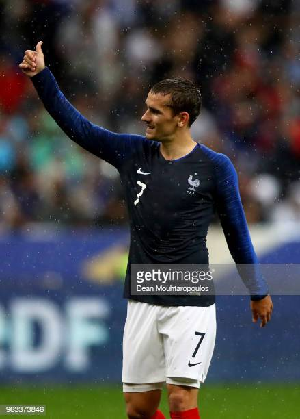 Antoine Griezmann of France gestures during the International Friendly match between France and Ireland at Stade de France on May 28 2018 in Paris...