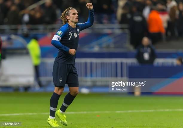 Antoine Griezmann of France gestures during the UEFA Euro 2020 Qualifier between France and Moldova on November 14 2019 in Paris France