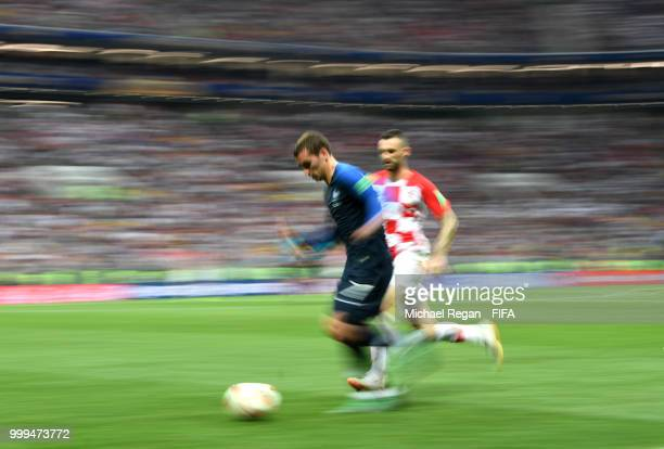Antoine Griezmann of France in action during the 2018 FIFA World Cup Final between France and Croatia at Luzhniki Stadium on July 15 2018 in Moscow...