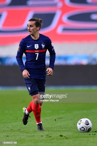 Antoine Griezmann of France in action during the FIFA World Cup 2022 Qatar qualifying match between France and Ukraine on March 24, 2021 in Paris,...