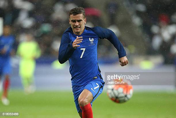 Antoine Griezmann of France in action during the international friendly match between France and Russia at Stade de France on March 29 2016 in...