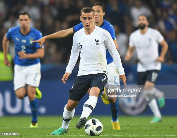 Antoine Griezmann of France in action during the International Friendly match between France and Italy at Allianz Riviera Stadium on June 1 2018 in...