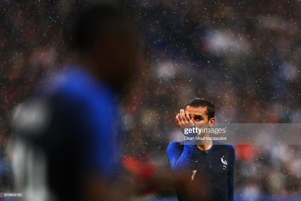 Antoine Griezmann #7 of France in action during the International Friendly match between France and Ireland at Stade de France on May 28, 2018 in Paris, France.