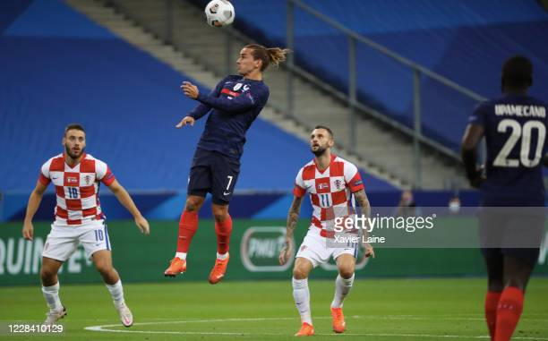 Antoine Griezmann of France in action during the UEFA Nations League group stage match between France and Croatia at Stade de France on September 8...