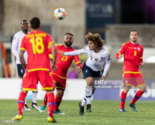 Antoine Griezmann of France is challenged by Jordi Rubio of Andorra during the UEFA Euro 2020 Qualifier Group H match between Andorra and France at...