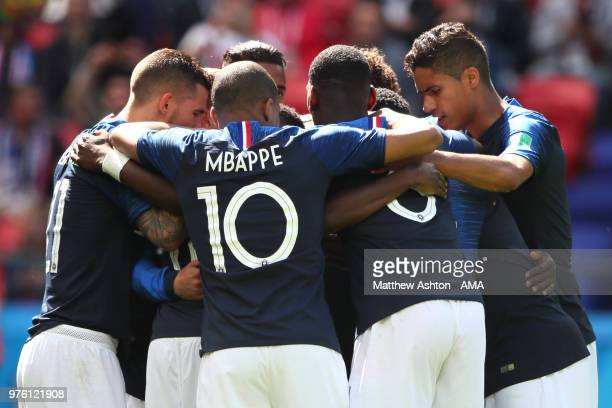 Antoine Griezmann of France is mobbed by his teammates after scoreing a goal to make it 10 during the 2018 FIFA World Cup Russia group C match...