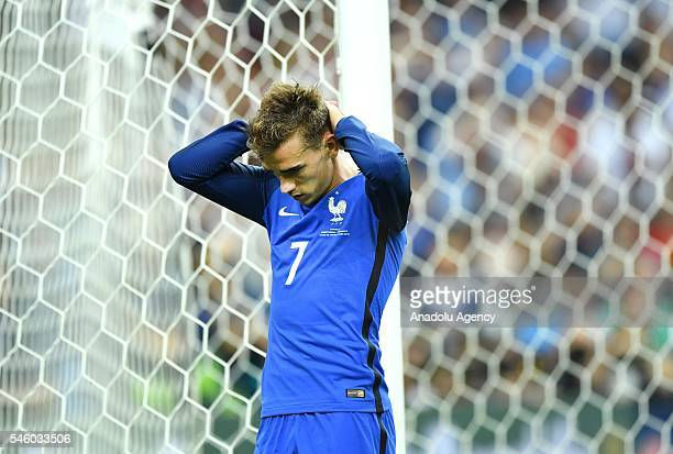 Antoine Griezmann of France is seen after Portugal won the Euro 2016 final football match at the Stade de France in Saint-Denis, north of Paris,...