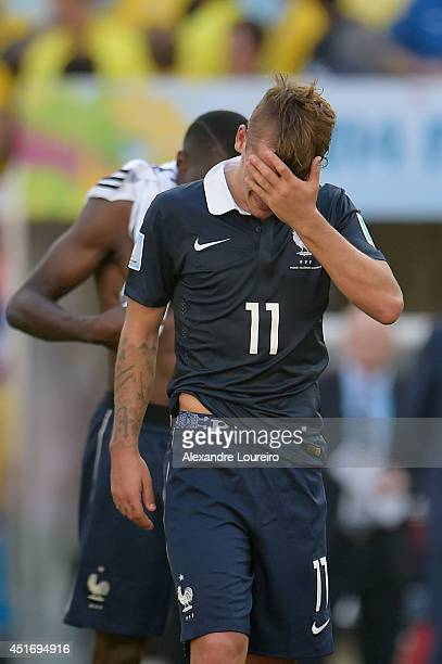 Antoine Griezmann of France looks dejected after a 10 defeat to Germany in the 2014 FIFA World Cup Brazil Quarter Final match between France and...