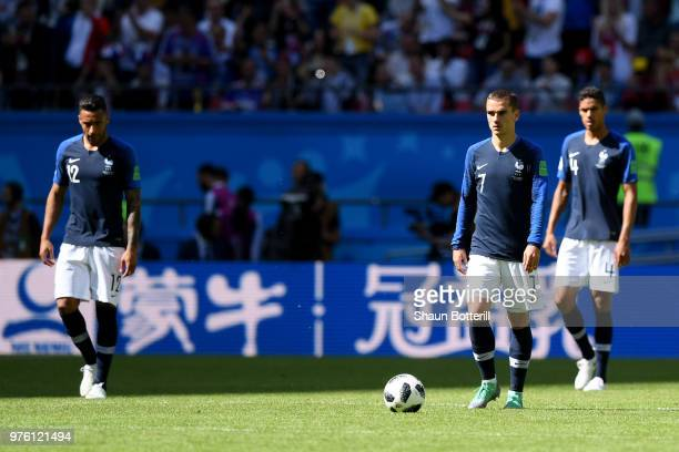 Antoine Griezmann of France looks dejected after his side concede during the 2018 FIFA World Cup Russia group C match between France and Australia at...