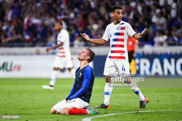 Antoine Griezmann of France looks dejected during the International Friendly match between France and United States at Groupama Stadium on June 9...