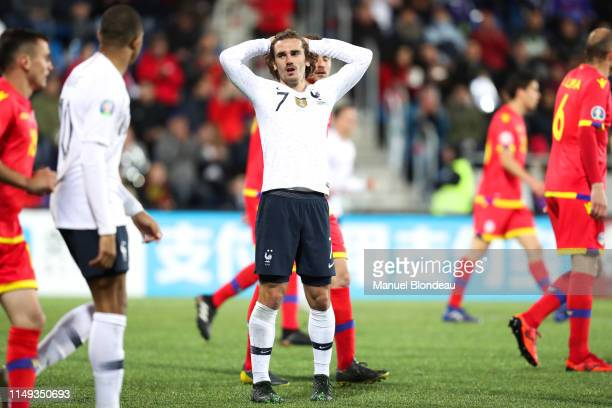 Antoine Griezmann of France looks dejected during the Qualifying European Championship 2020 match between Andorra and France at Estadi Nacional on...