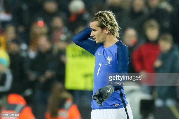 Antoine Griezmann of France looks on after the International friendly match between Germany and France at RheinEnergieStadion on November 14 2017 in...