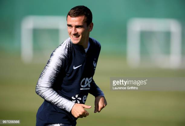 Antoine Griezmann of France looks on during a France trainig session on July 12 2018 in Moscow Russia