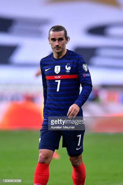Antoine Griezmann of France looks on during the FIFA World Cup 2022 Qatar qualifying match between France and Ukraine on March 24, 2021 in Paris,...