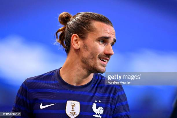 Antoine Griezmann of France looks on during the international friendly match between France and Finland at Stade de France on November 11, 2020 in...