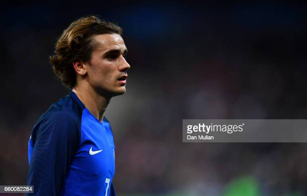 Antoine Griezmann of France looks on during the International Friendly match between France and Spain at the Stade de France on March 28 2017 in...