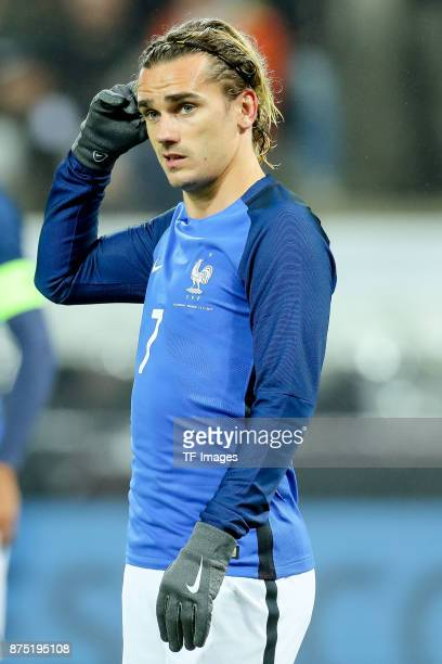 Antoine Griezmann of France looks on during the International friendly match between Germany and France at RheinEnergieStadion on November 14 2017 in...