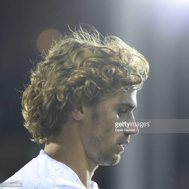 Antoine Griezmann of France looks on during the UEFA Euro 2020 Qualification match between Andorra and France at Estadi Nacional on June 11 2019 in...