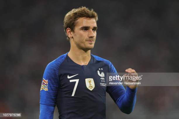 Antoine Griezmann of France looks on during the UEFA Nations League group A match between Germany and France at Allianz Arena on September 6 2018 in...