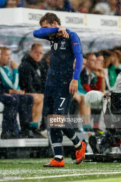 Antoine Griezmann of France looks on during the UEFA Nations League group A match between Germany and France at Allianz Arena on September 6, 2018 in...