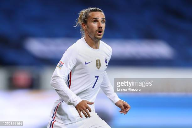 Antoine Griezmann of France looks on during the UEFA Nations League group stage match between Sweden and France at Friends Arena on September 05,...