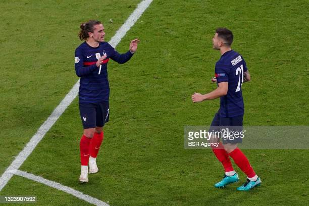 Antoine Griezmann of France, Lucas Hernandez of France celebrating during the UEFA Euro 2020 match between France and Germany at Allianz Arena on...