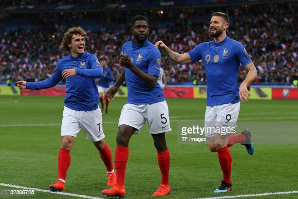 Antoine Griezmann of France Mamadou Sakho of France and Olivier Giroud of France celebrate after their team's first goal during the 2020 UEFA...