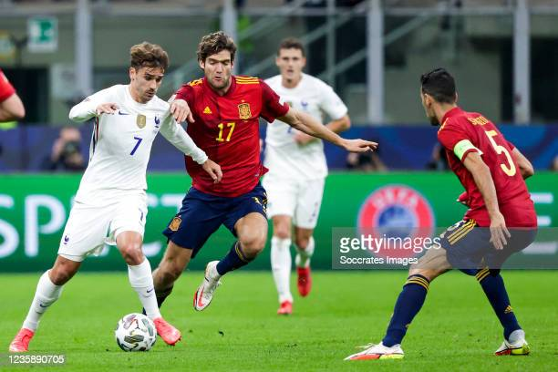 Antoine Griezmann of France, Marcos Alonso of Spain during the UEFA Nations league match between Spain v France at the San Siro on October 10, 2021...