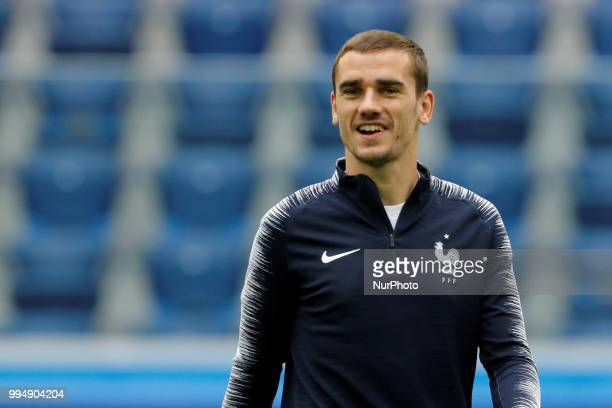 Antoine Griezmann of France national team during a France national team training session ahead of the 2018 FIFA World Cup Russia Semi Final match...