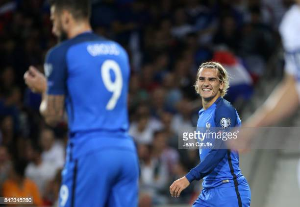Antoine Griezmann of France Olivier Giroud of France during the FIFA 2018 World Cup Qualifier between France and Luxembourg at the Stadium on...