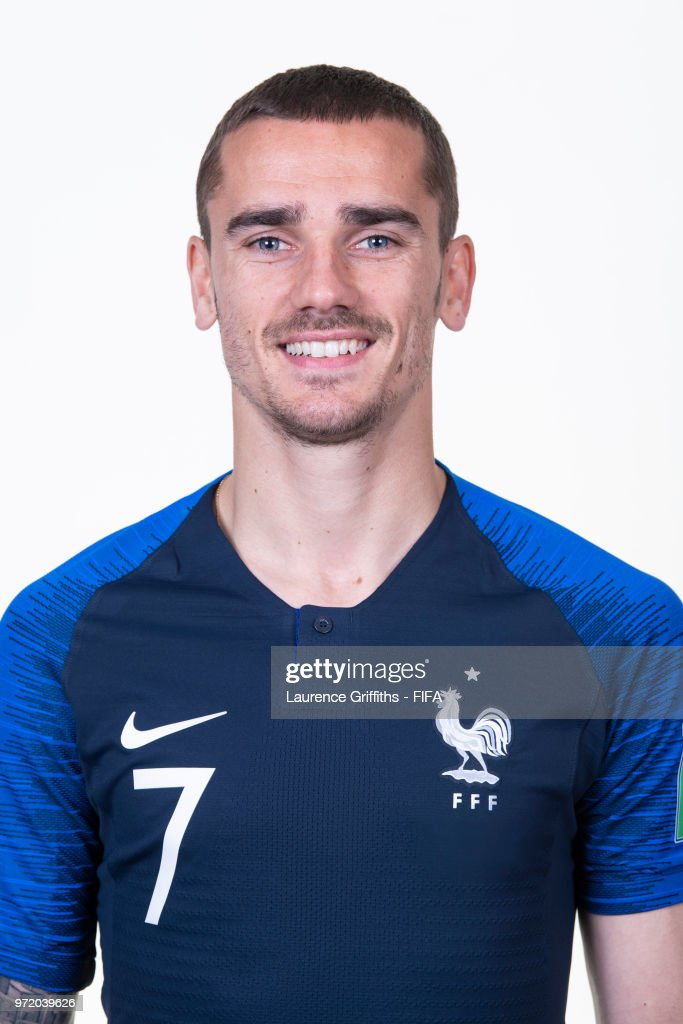 Antoine Griezmann of France poses for a portrait during the official FIFA World Cup 2018 portrait session at the Team Hotel on June 11, 2018 in Moscow, Russia.