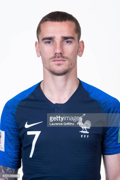 Antoine Griezmann of France poses for a portrait during the official FIFA World Cup 2018 portrait session at the Team Hotel on June 11 2018 in Moscow...