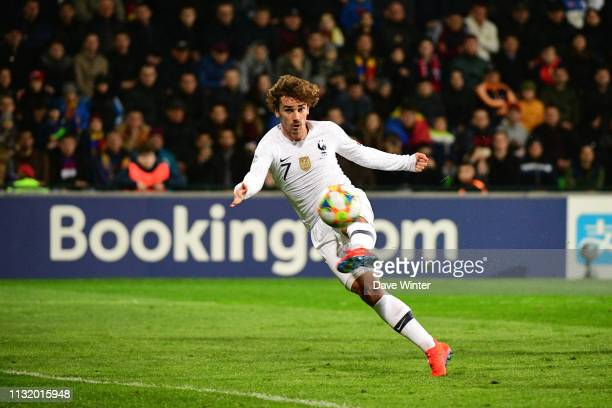 Antoine Griezmann of France puts his side 10 ahead during the Qualifying European Championship match between Moldova and France at Zimbru Stadium on...