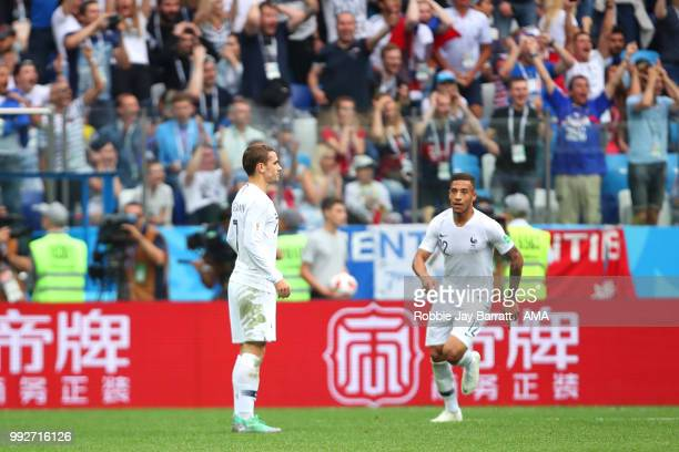 Antoine Griezmann of France reacts after scoring a goal to make it 0-2 during the 2018 FIFA World Cup Russia Quarter Final match between Uruguay and...