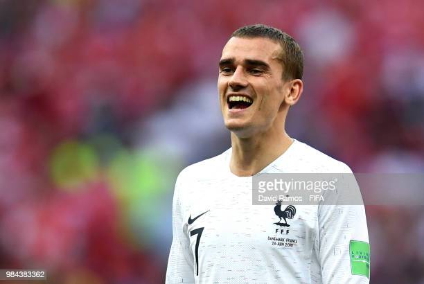 Antoine Griezmann of France reacts during the 2018 FIFA World Cup Russia group C match between Denmark and France at Luzhniki Stadium on June 26 2018...
