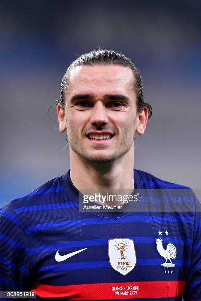 Antoine Griezmann of France reacts during the FIFA World Cup 2022 Qatar qualifying match between France and Ukraine on March 24, 2021 in Paris,...