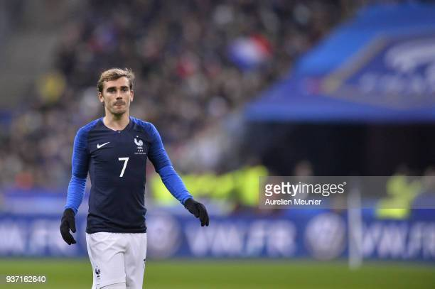 Antoine Griezmann of France reacts during the international friendly match between France and Colombia at Stade de France on March 23 2018 in Paris...