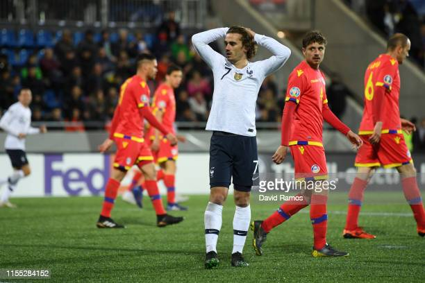 Antoine Griezmann of France reacts during the UEFA Euro 2020 Qualification match between Andorra and France on June 11 2019 in Andorra la Vella...