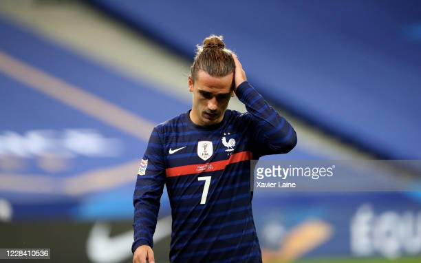 Antoine Griezmann of France reacts during the UEFA Nations League group stage match between France and Croatia at Stade de France on September 8 2020...