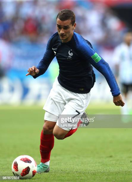 Antoine Griezmann of France runs off the ball during the 2018 FIFA World Cup Russia Round of 16 match between France and Argentina at Kazan Arena on...