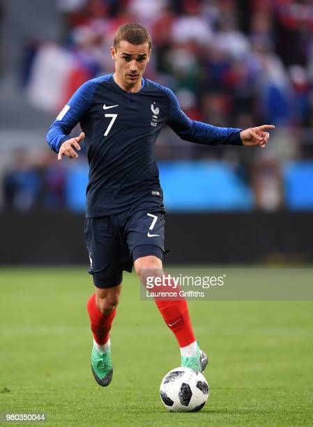 Antoine Griezmann of France runs with the ball during the 2018 FIFA World Cup Russia group C match between France and Peru at Ekaterinburg Arena on...